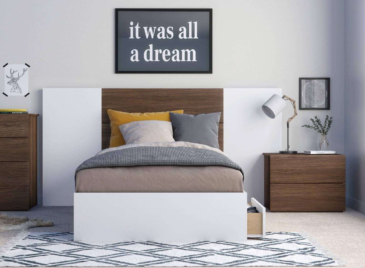 Nexera Twin Bedroom Set Walnut White