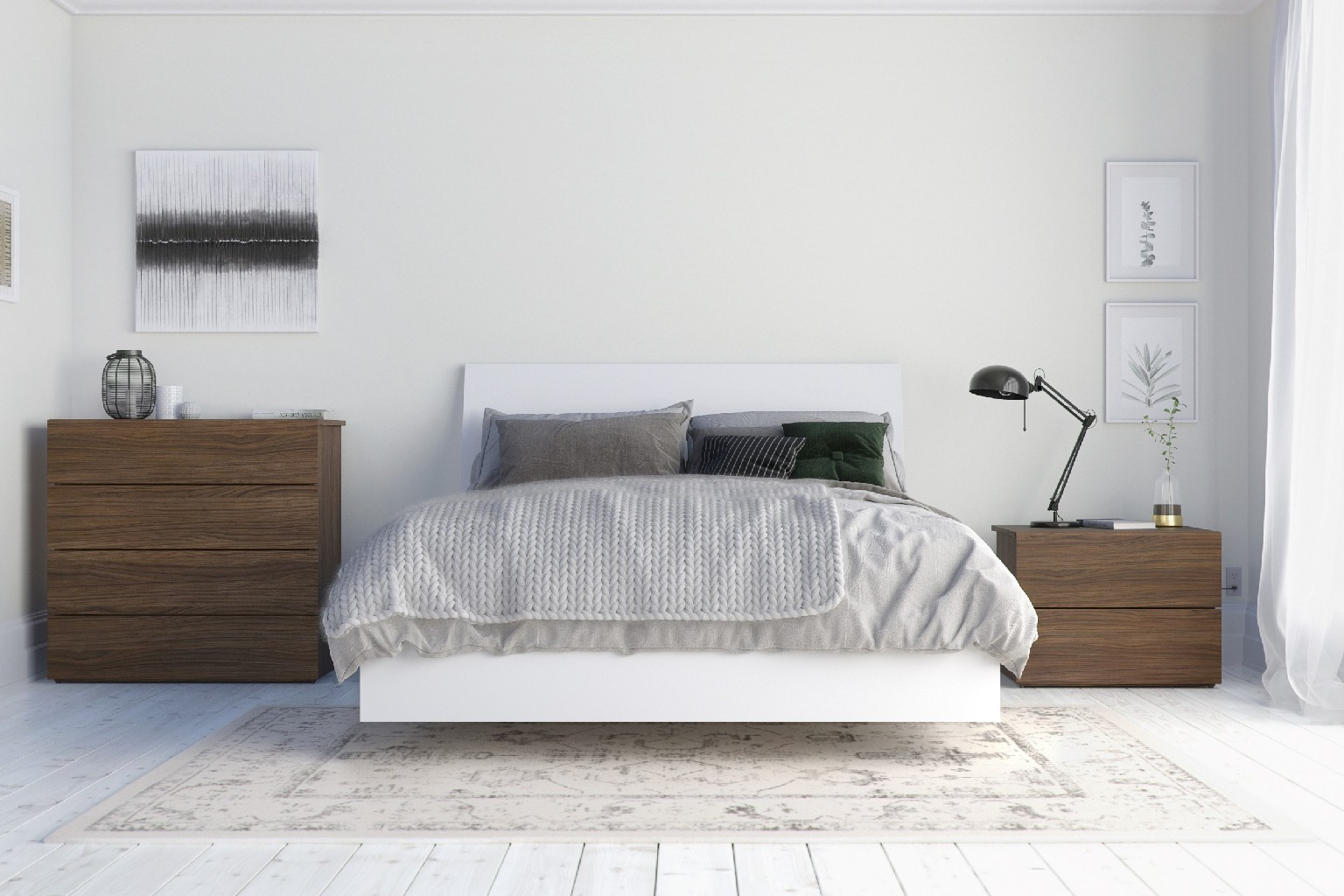 Nexera Bedroom Set Walnut White
