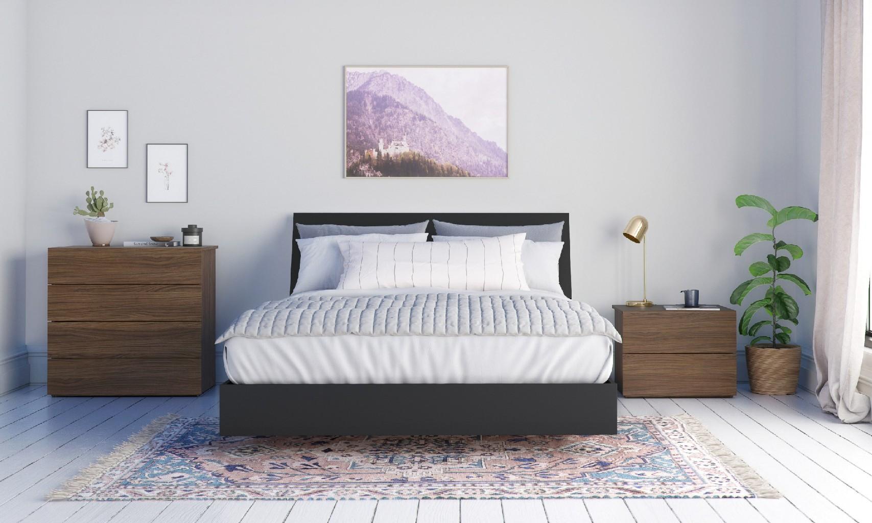 Nexera Transit Queen Bedroom Set Walnut Black