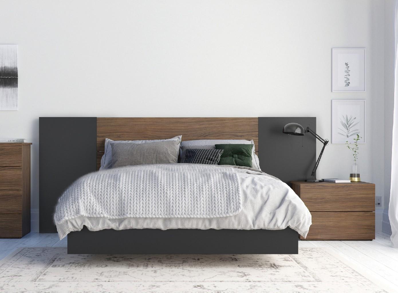 Nexera Furniture Bedroom Set Walnut Black Photo
