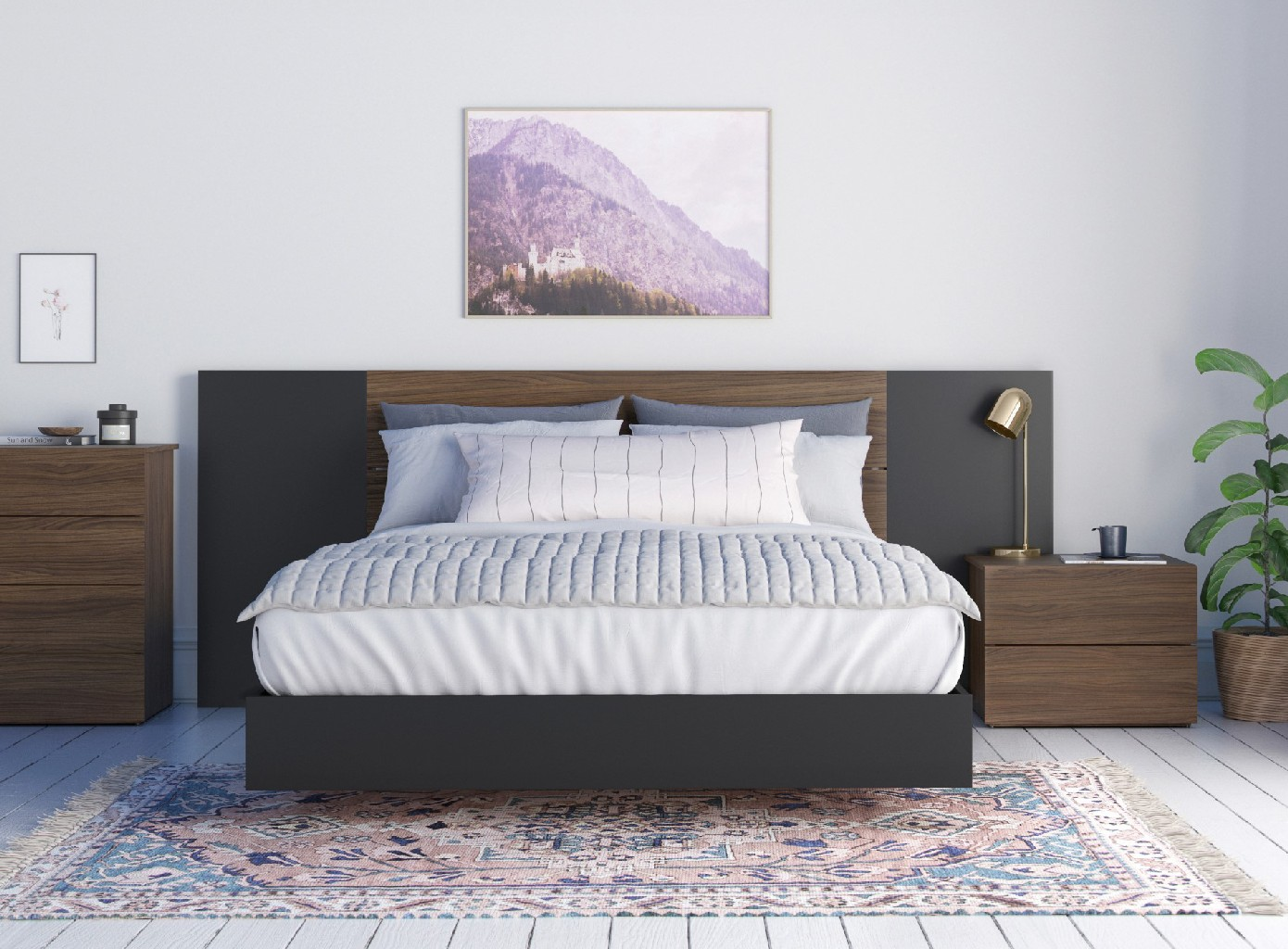 Nexera Queen Bedroom Set Walnut Black