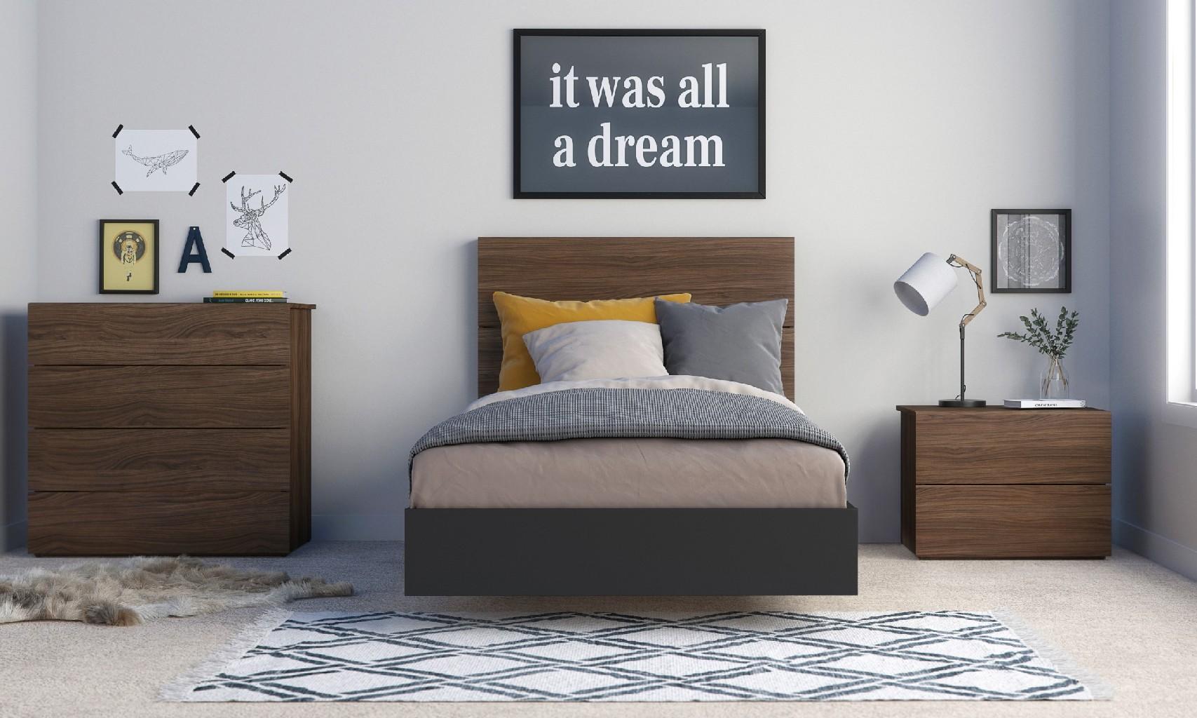 Nexera Solari Twin Bedroom Set Walnut Black