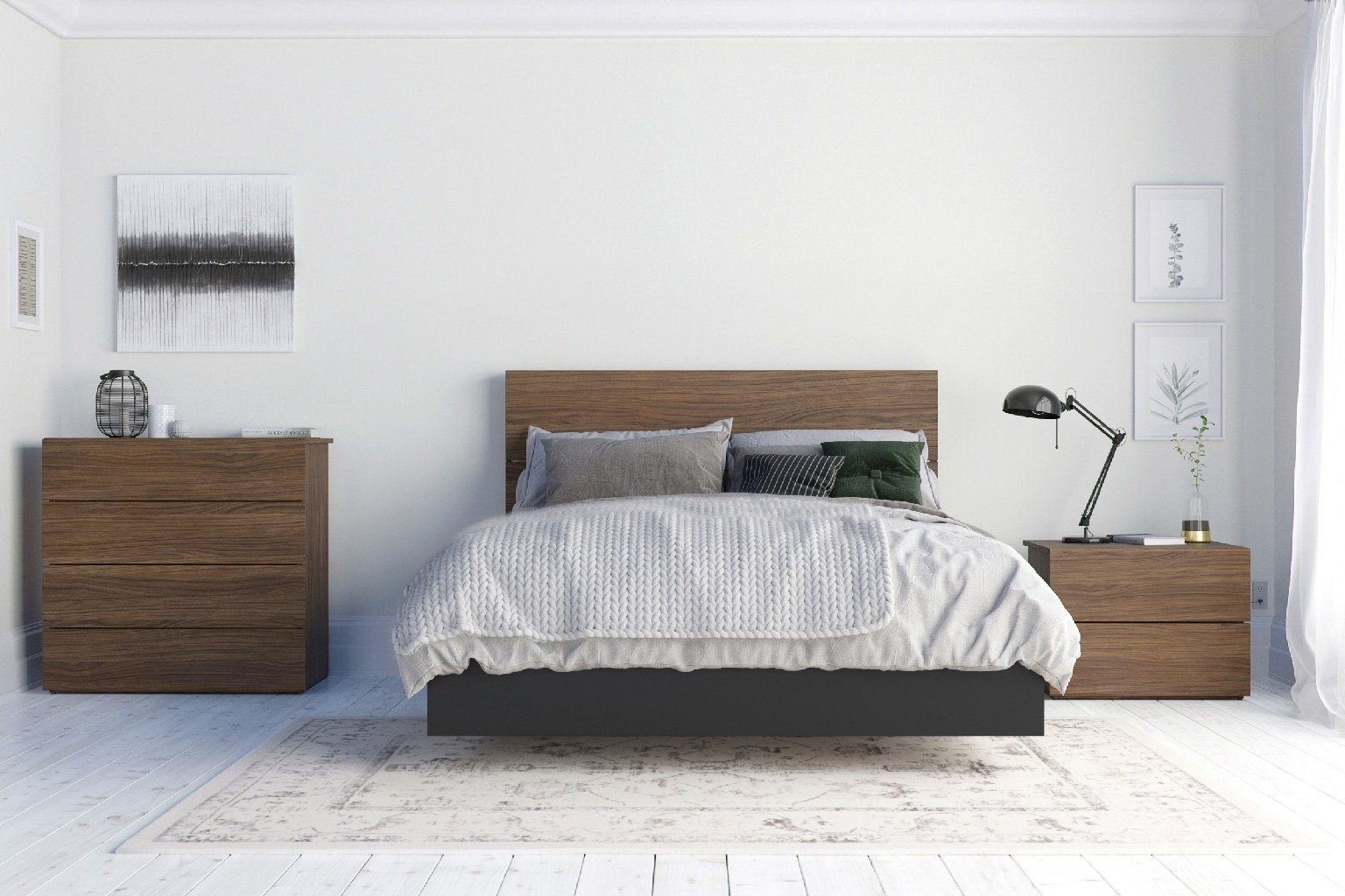 Nexera Furniture Bedroom Set Walnut Black Photo
