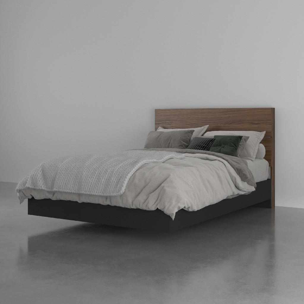 2 Piece Full Size Bedroom Set, Walnut and Black - Nexera 402626