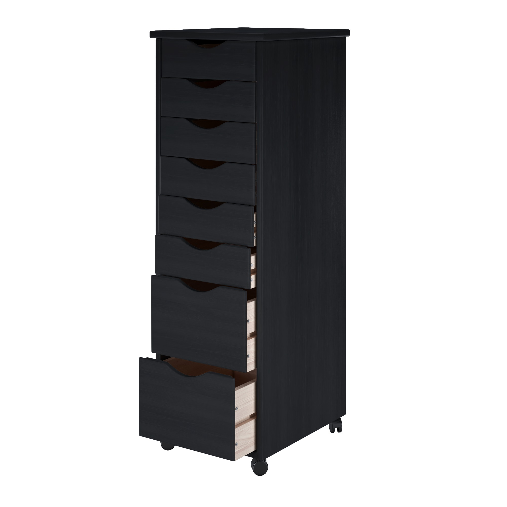 6 Plus 2 Drawer Solid Wood Roll Cart in Black - Adeptus 76171