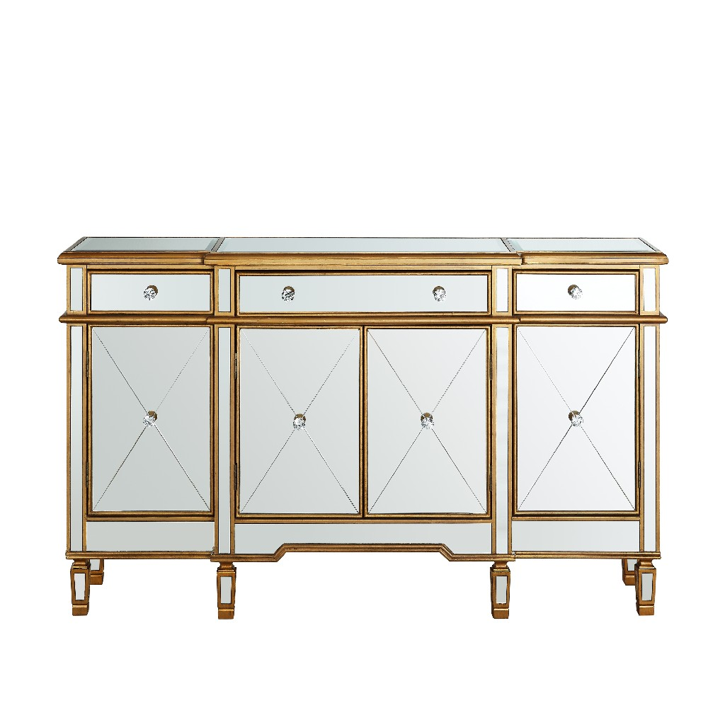 Powell Mirrored Console Drawers Doors