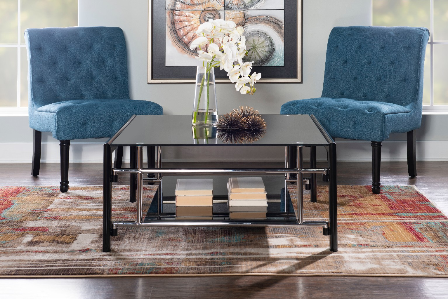 Black Glass Square Cocktail Table in Black - Powell 629-200C