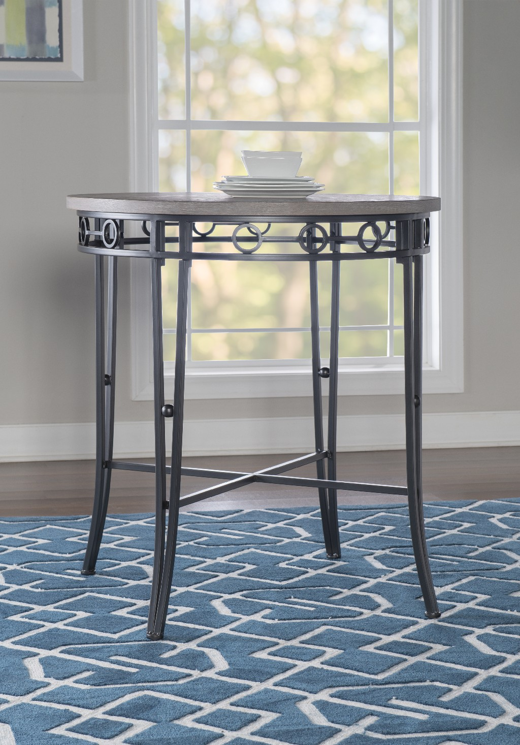 Barker Pub Table in Charcoal gray powder coat and finished in a light brown whitewash - Powell D1115D17PT