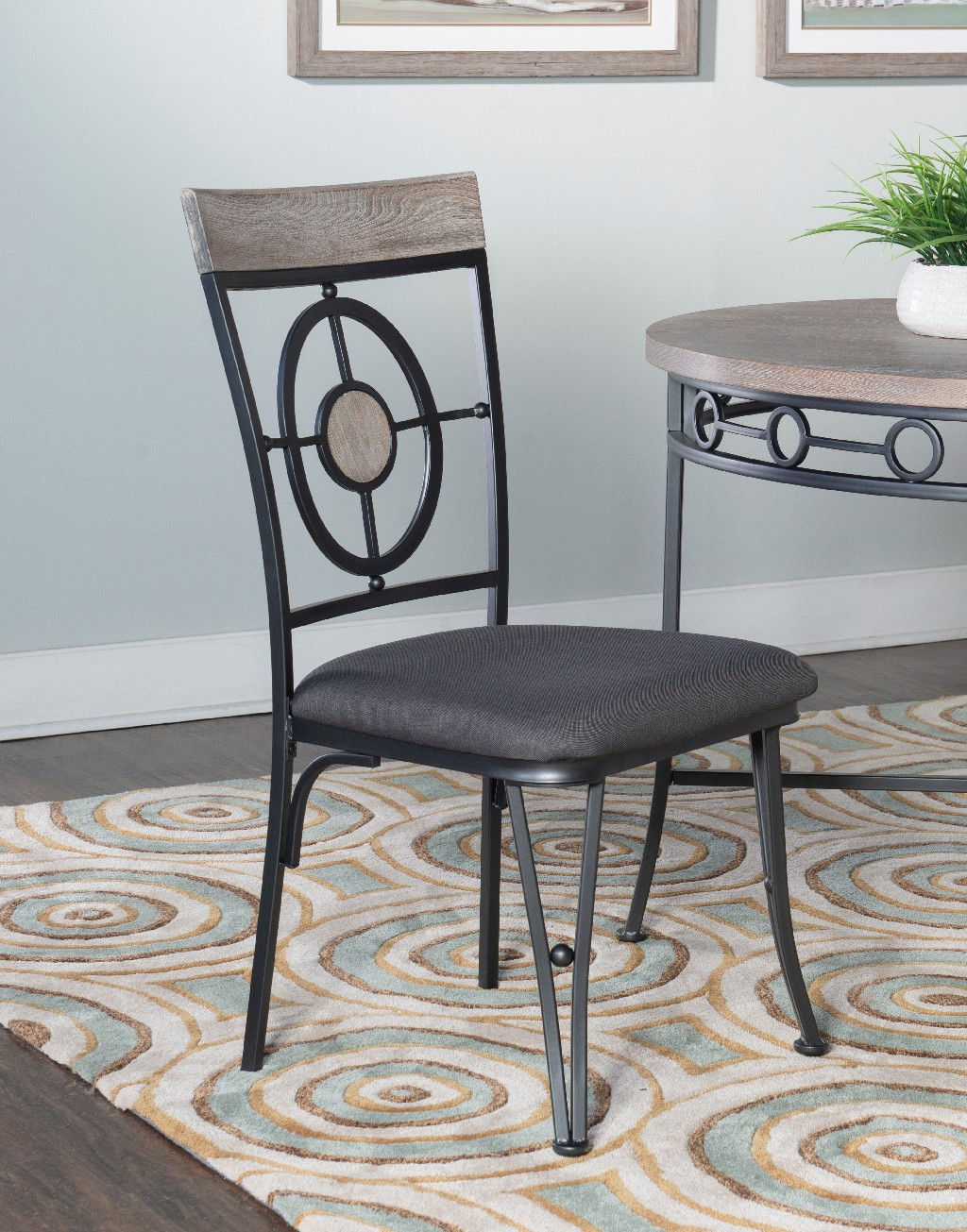 Barker Side Chair in Natural/Black - Powell D1115D17SC