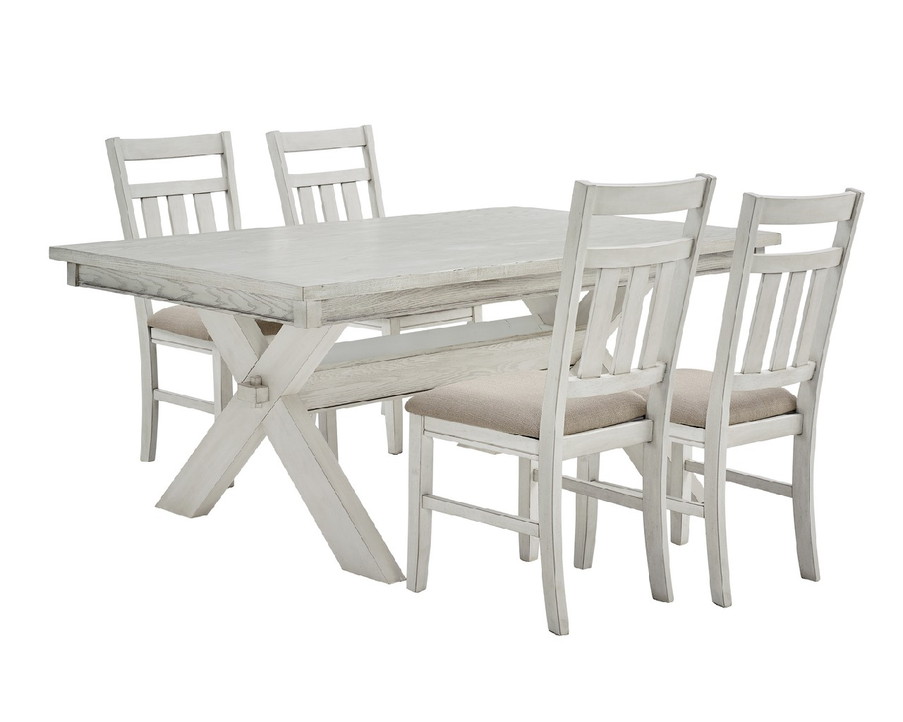 Powell Distressed White Dining Set