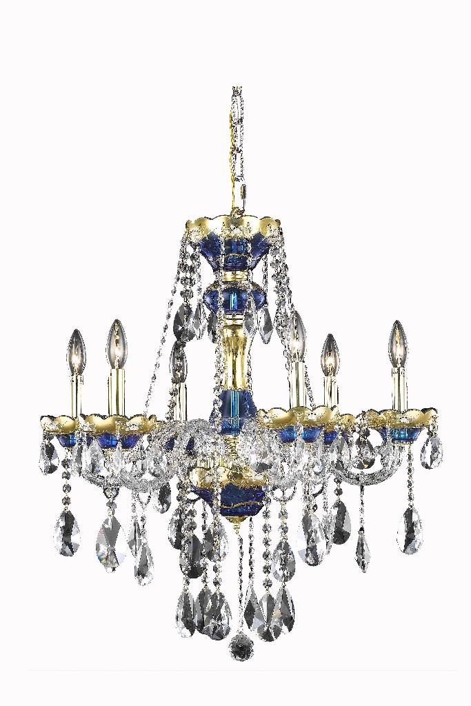 Elegant Lighting Light Blue Chandelier Clear Royal Cut Crystal