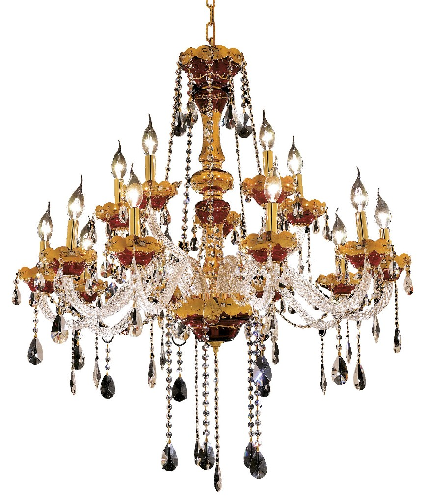 Elegant Lighting Light Gold Chandelier Clear Spectra' Swarovski' Crystal