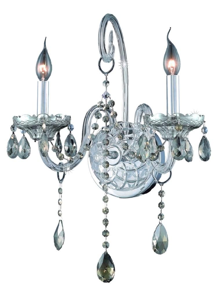 Elegant Lighting Light Chrome Wall Sconce Golden Teak Smoky Elements Crystal