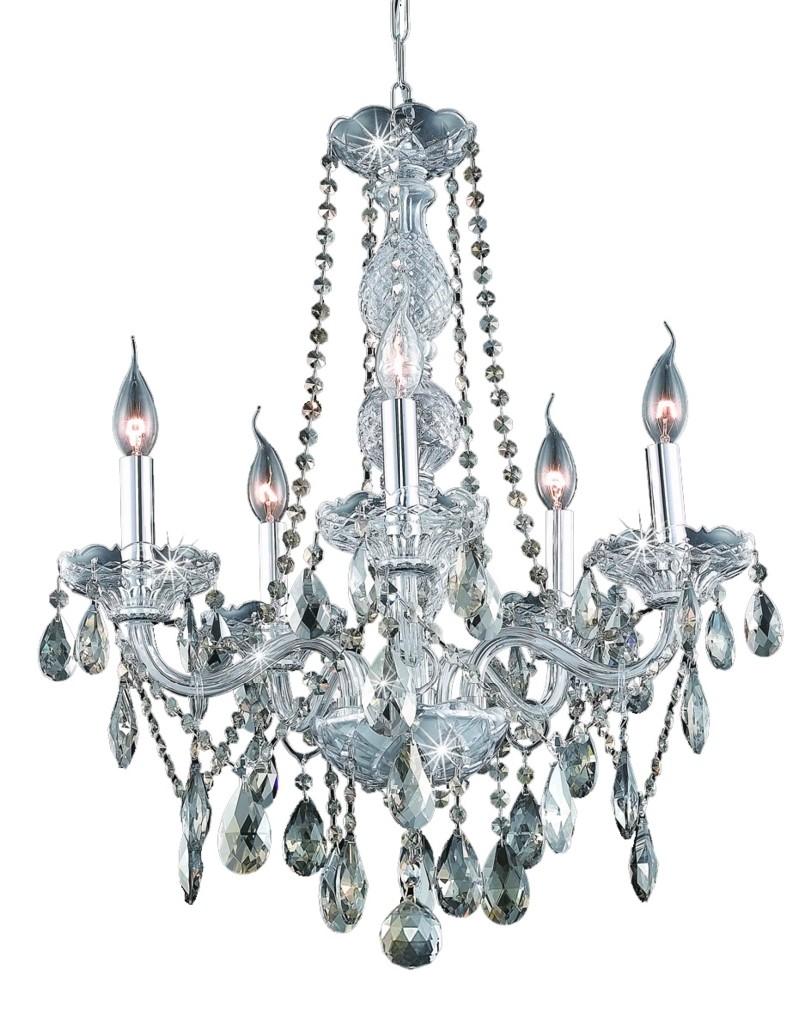 Elegant Lighting Light Chrome Chandelier Golden Teak Smoky Elements Crystal