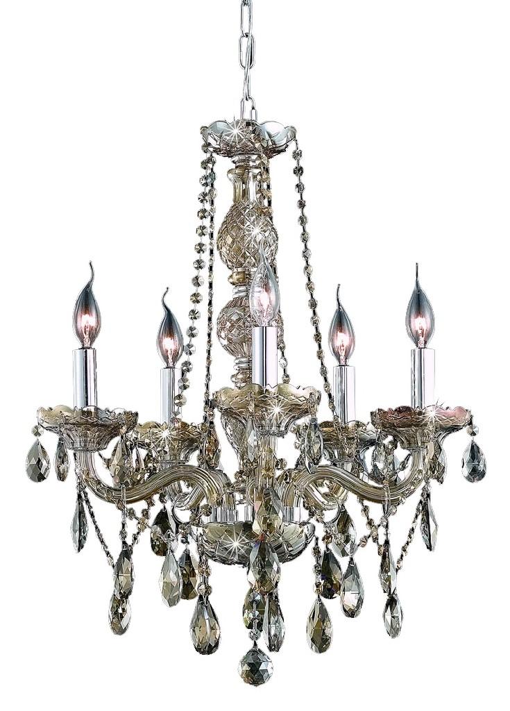 Elegant Lighting Light Golden Teak Chandelier Golden Teak Smoky Royal Cut Crystal