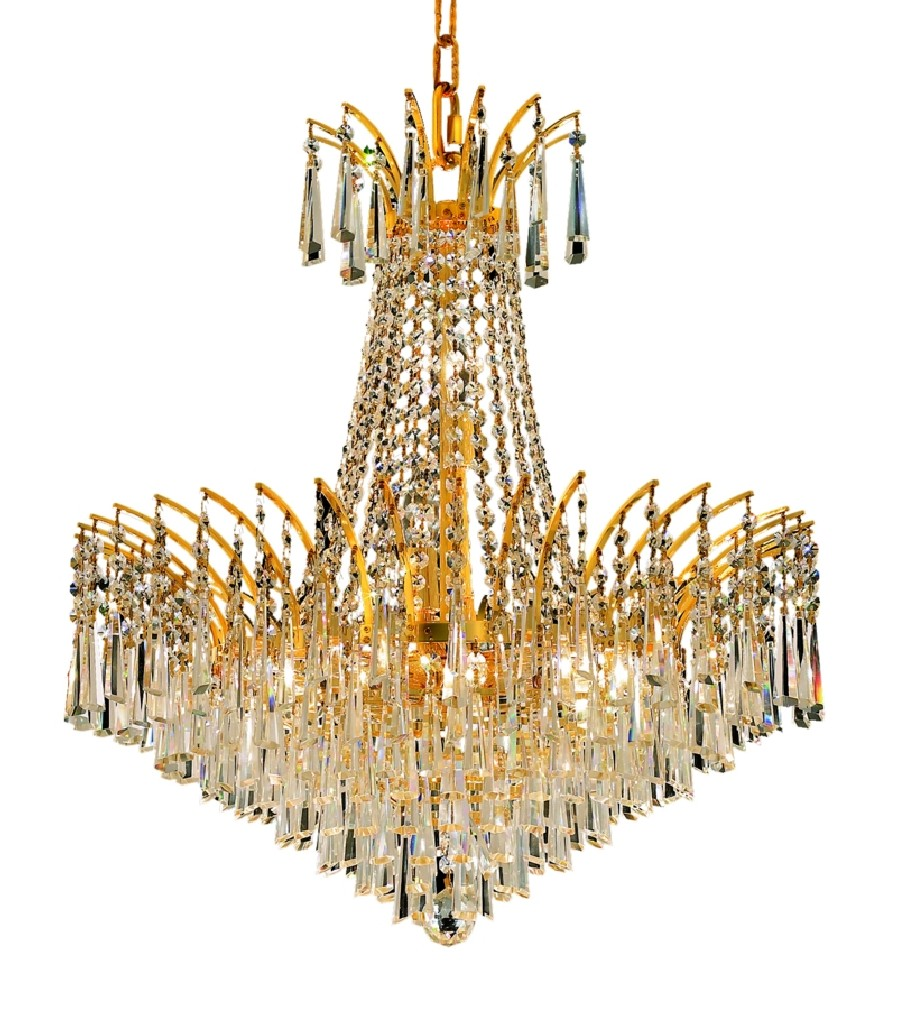 Elegant Lighting Light Gold Chandelier Clear Royal Cut Crystal