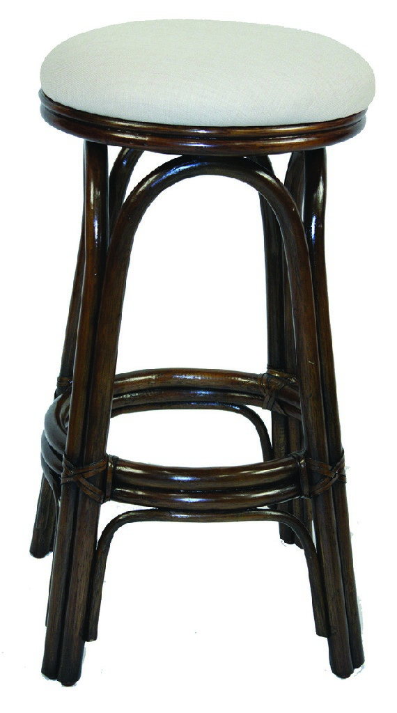 """Carmen Indoor Swivel Rattan & Wicker 24"""" Counterstool in Antique Finish"""