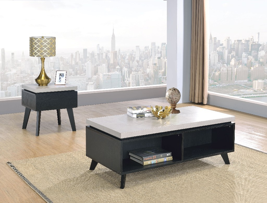 Magna Coffee Table In Faux Concrete & Black - Acme Furniture 81095