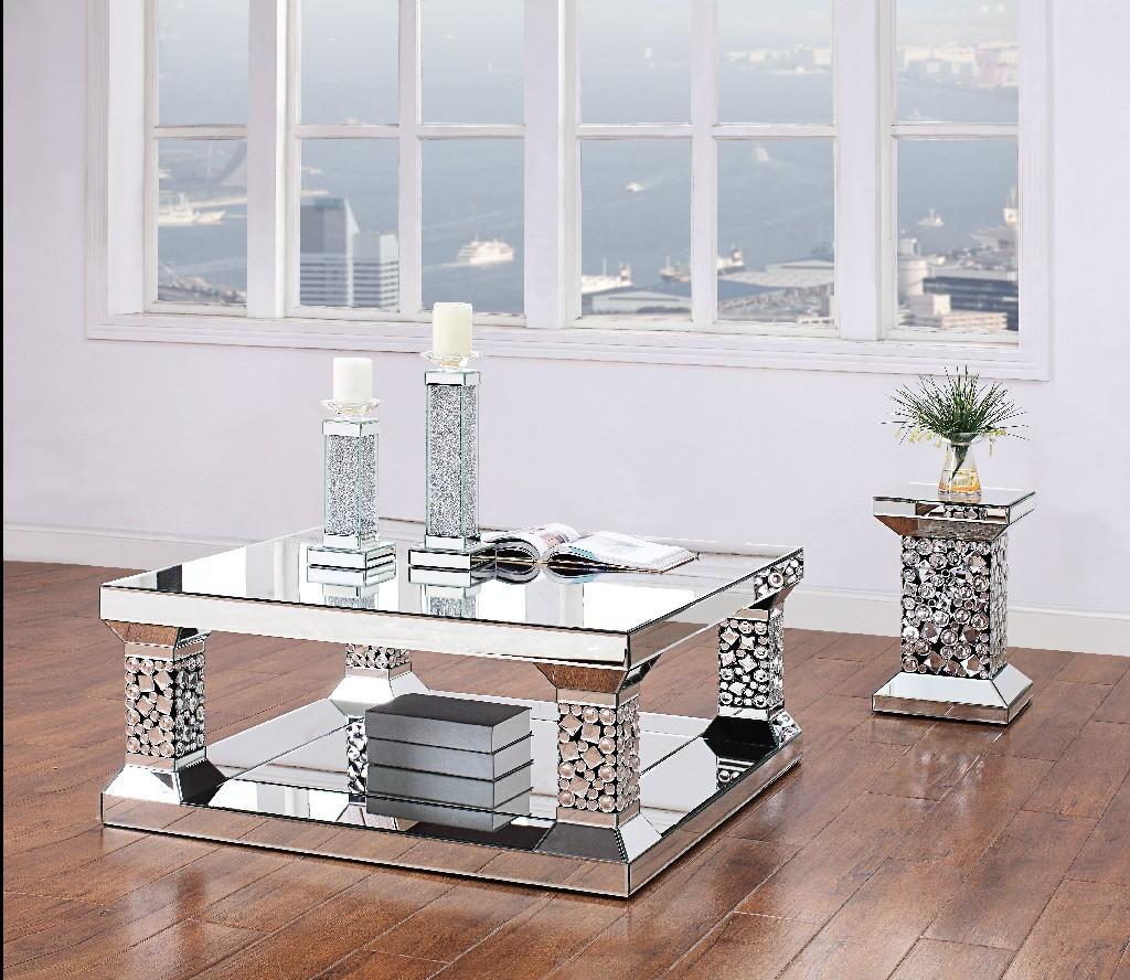 Acme Kachina Coffee Table Mirrored Faux Gem