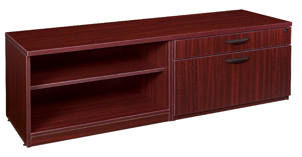 Regency Lateral Open Shelf Low Credenza Mahogany