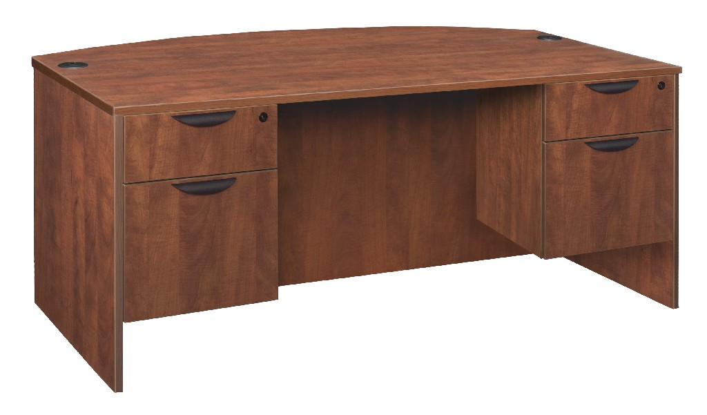 Regency Bow Front Double Pedestal Desk Cherry