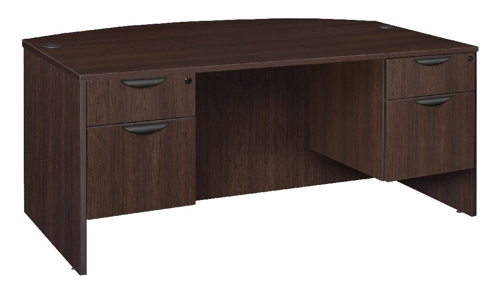 Regency Bow Front Double Pedestal Desk Java