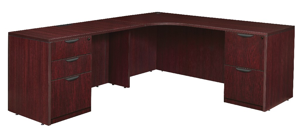 Regency Double Full Pedestal Left Corner Credenza Mahogany