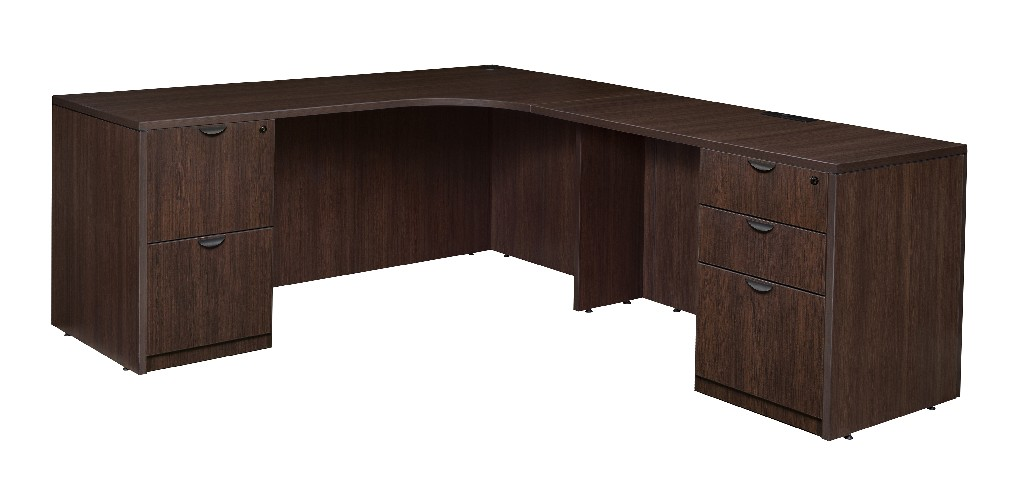 Regency Double Full Pedestal Right Corner Credenza Java