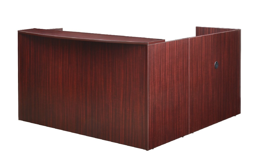 Regency Double Box File Pedestal Reception Desk Mahogany