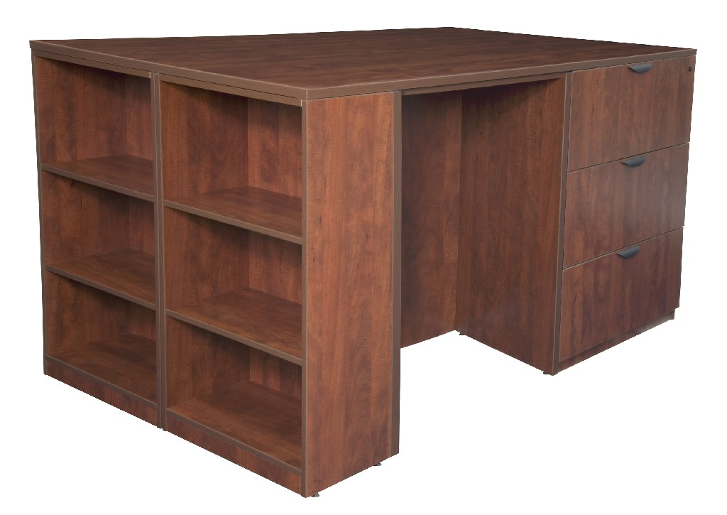 Regency Stand Up Desk Lateral File Quad Bookcase End Cherry
