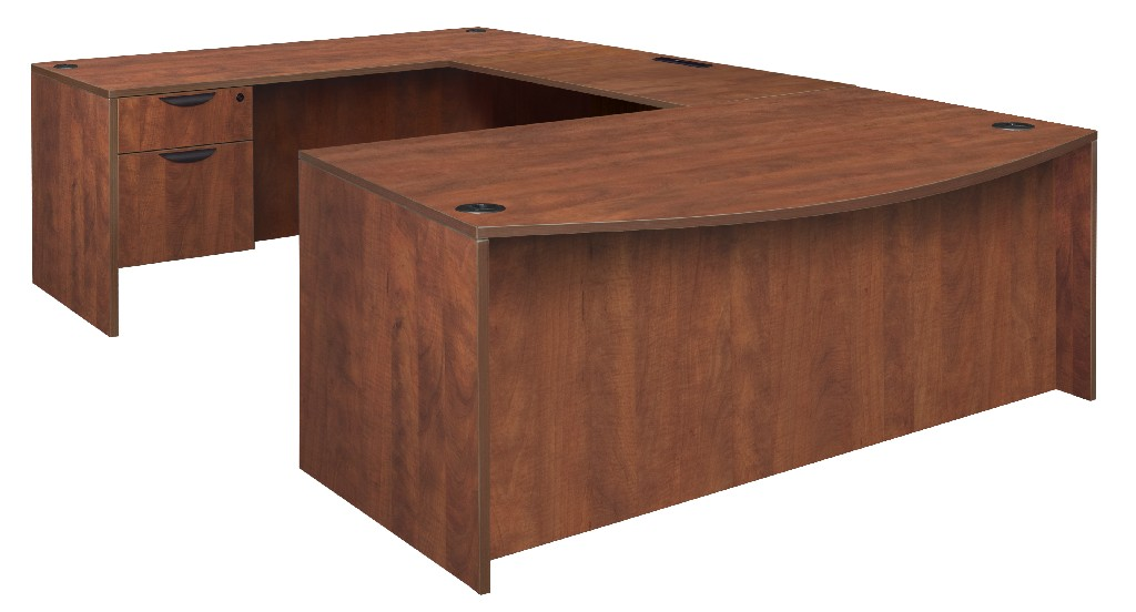 Regency Bow Front Single Pedestal Desk Cherry