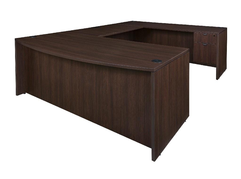 Regency Bow Front Single Pedestal Desk Java