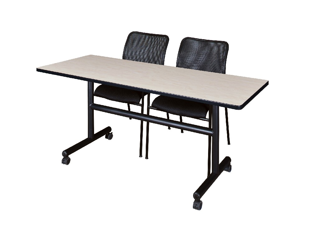 Regency Training Table Maple Mario Stack Chairs Black