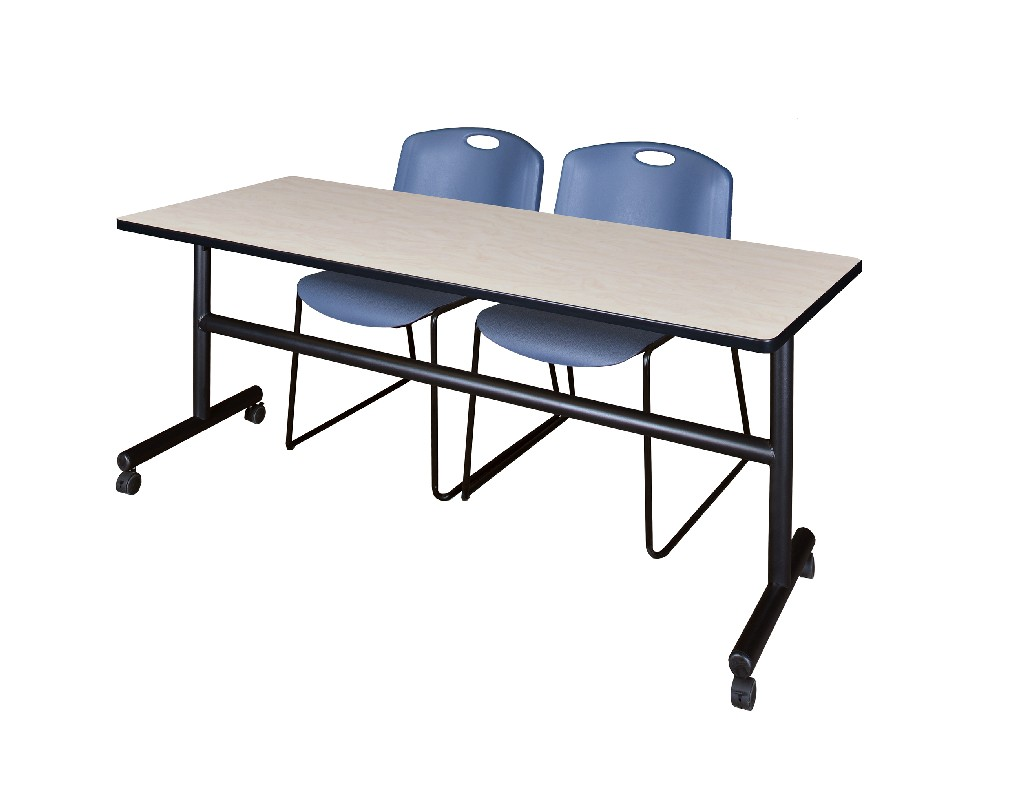 Regency Training Table Maple Zeng Stack Chairs Blue