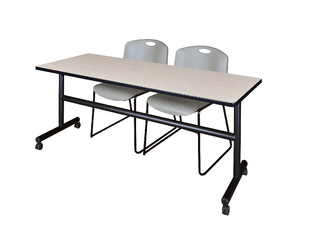 72 X 30 Flip Top Mobile Training Table In Maple 2 Zeng Stack Chairs In Grey Regency Mkft7230pl44gy
