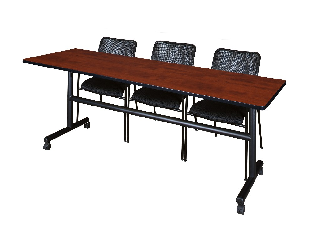 Regency Training Table Cherry Mario Stack Chairs Black