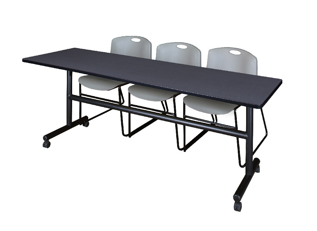 Regency Training Table Grey Zeng Stack Chairs Grey