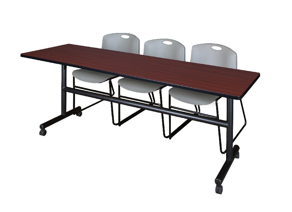 Regency Training Table Mahogany Zeng Stack Chairs Grey