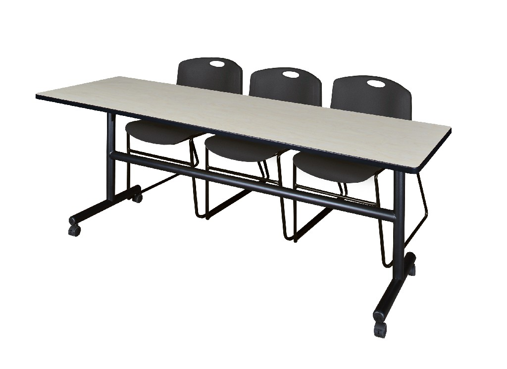 Regency Training Table Maple Zeng Stack Chairs Black