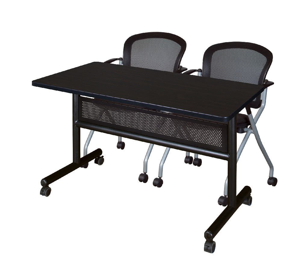 Regency Training Table Modesty Panel Mocha Walnut Cadence Nesting Chairs