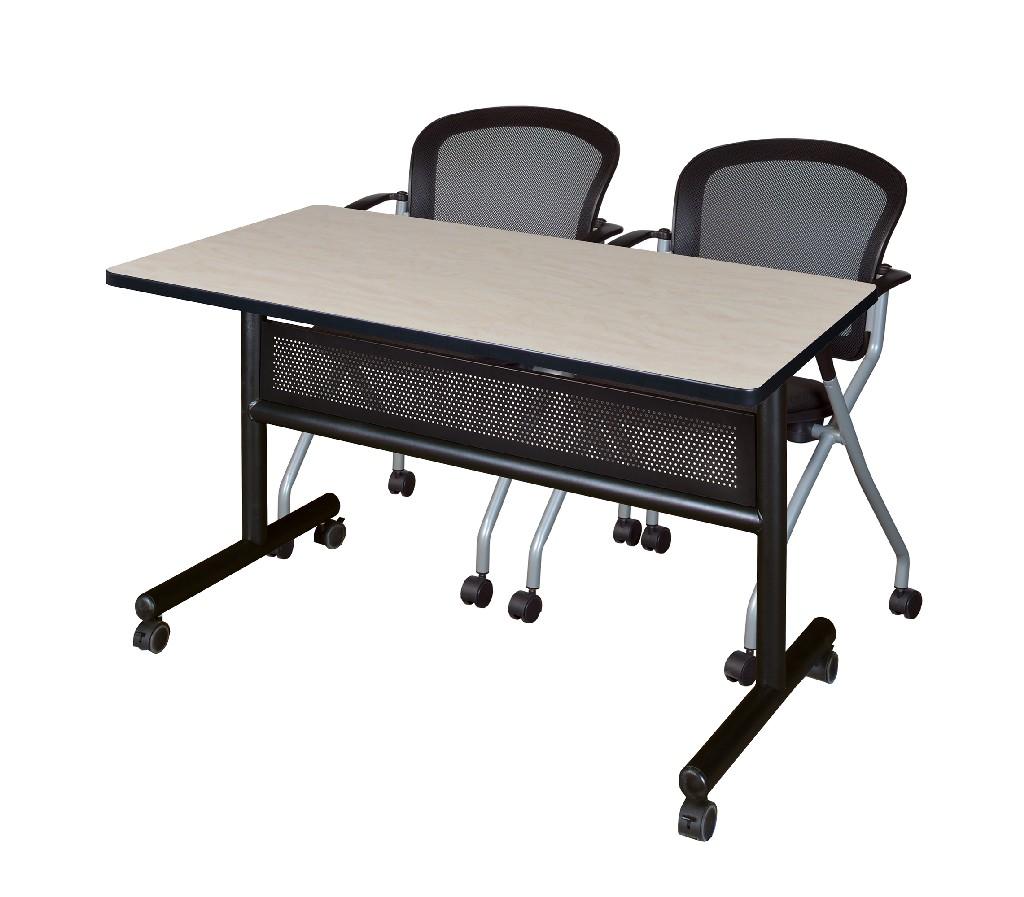 Regency Training Table Modesty Panel Maple Cadence Nesting Chairs