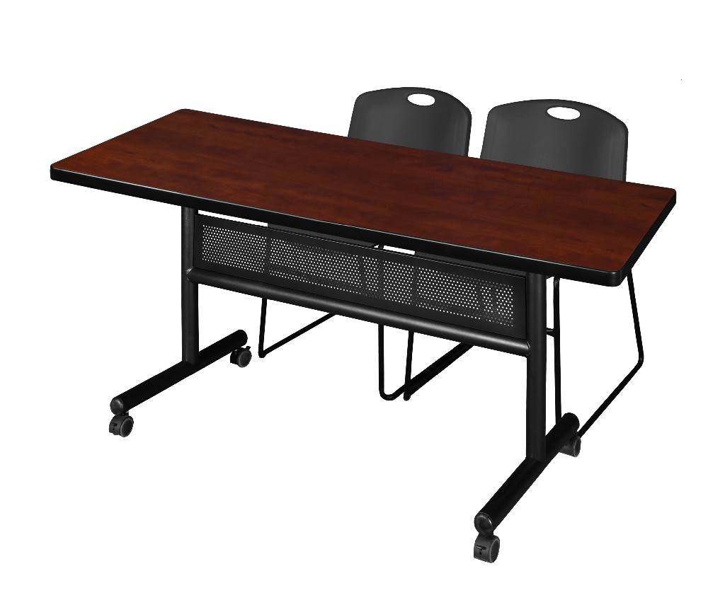 Regency Training Table Modesty Panel Cherry Zeng Stack Chairs Black