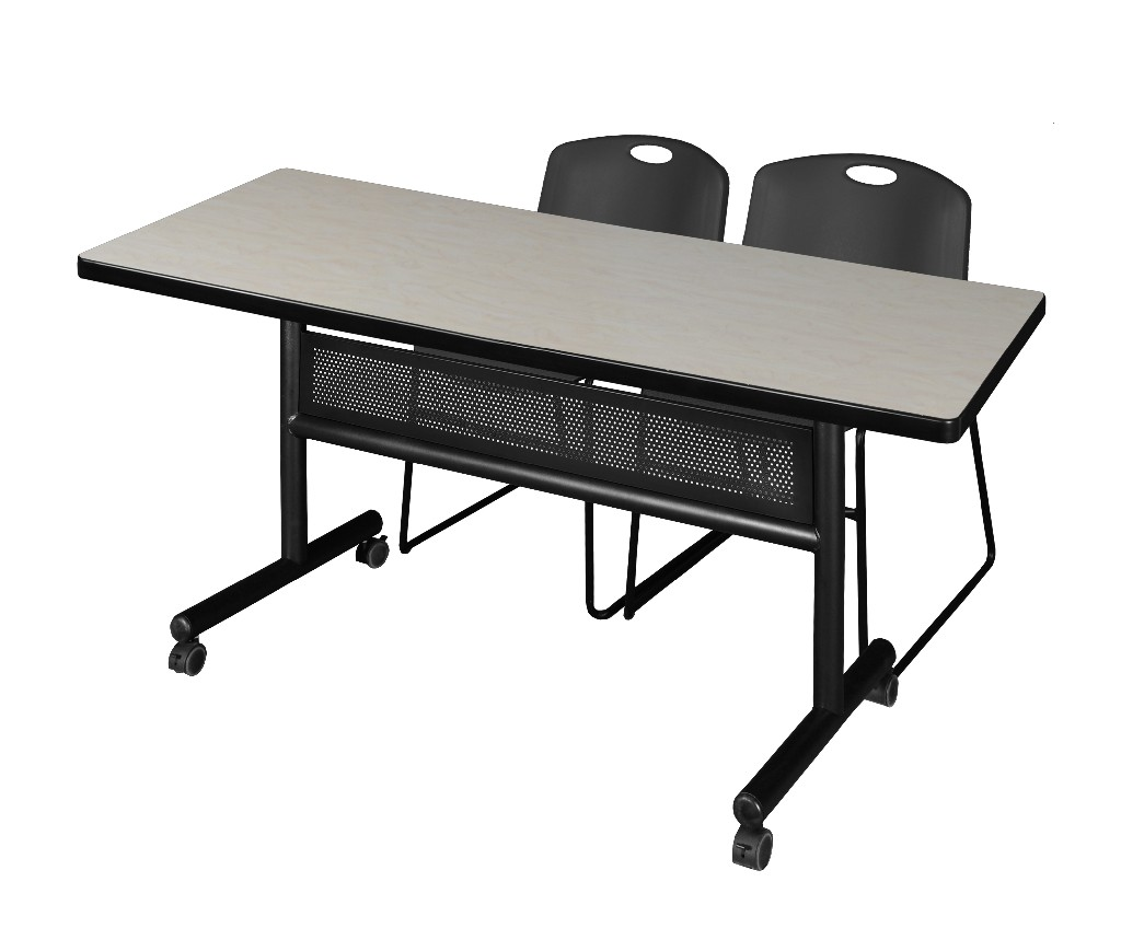 Regency Training Table Modesty Panel Maple Zeng Stack Chairs Black