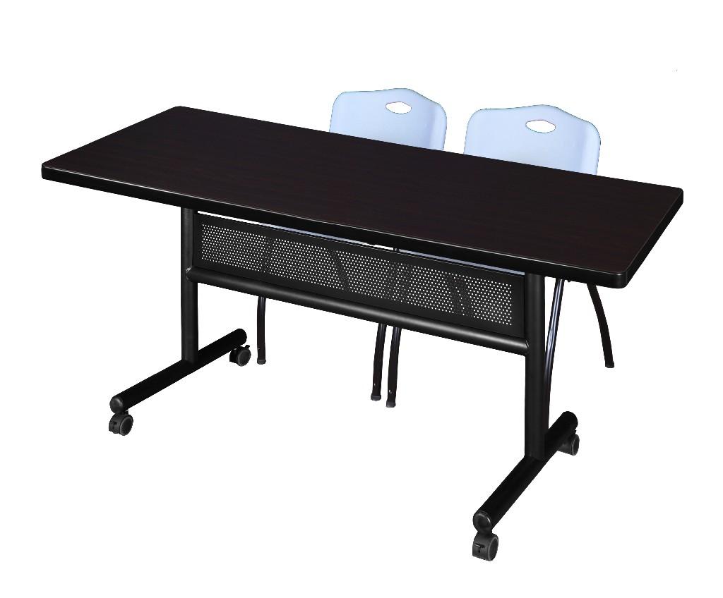 Regency Training Table Modesty Panel Mocha Walnut Stack Chairs Grey