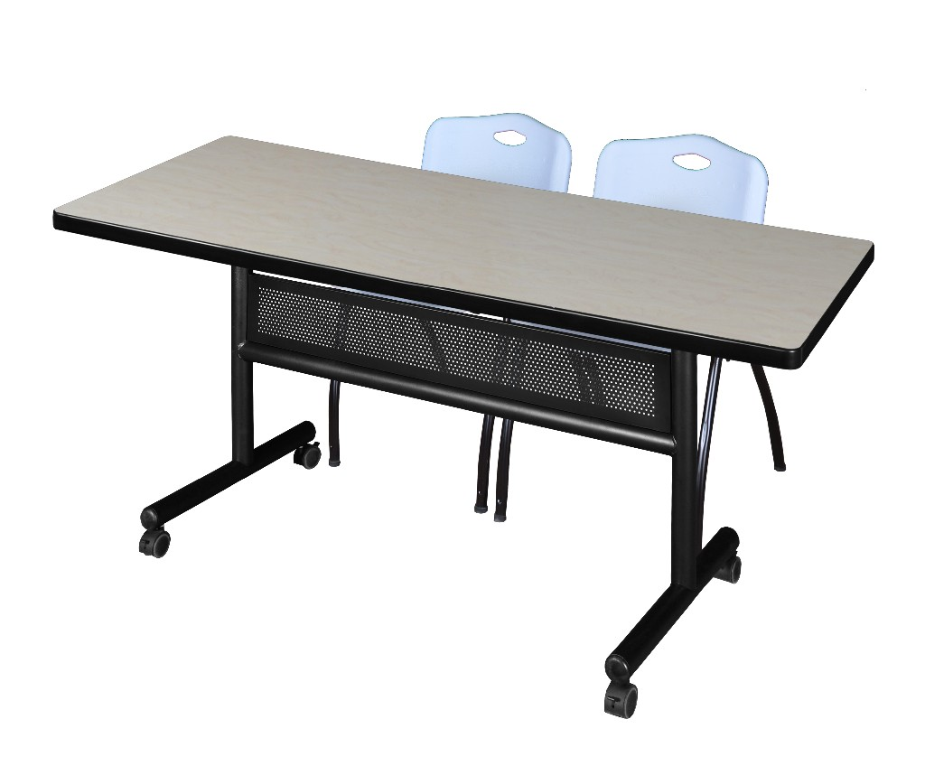 Regency Training Table Modesty Panel Maple Stack Chairs Grey