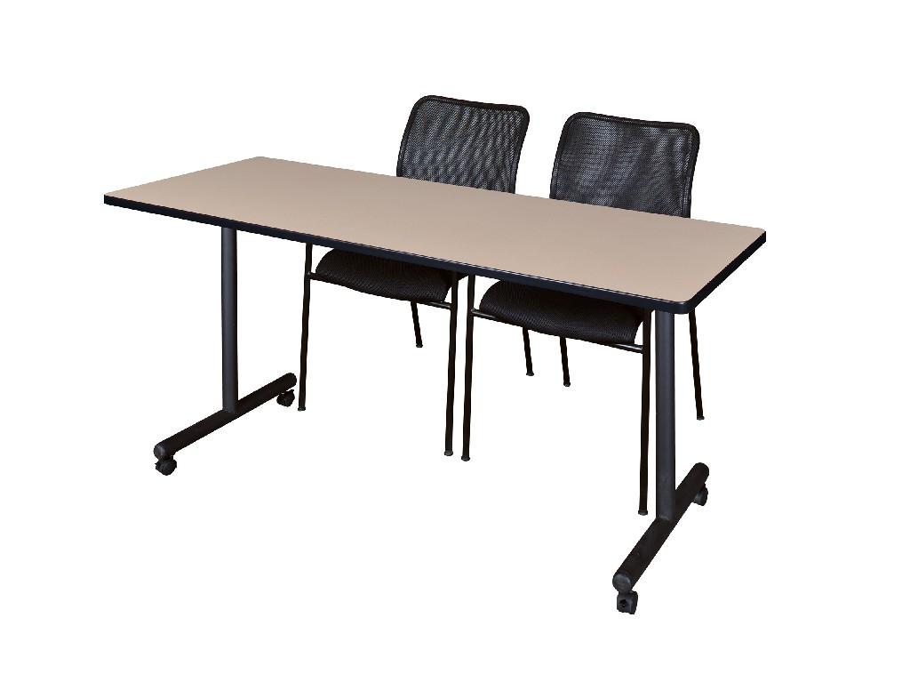 Regency Training Table Beige Mario Stack Chairs Black