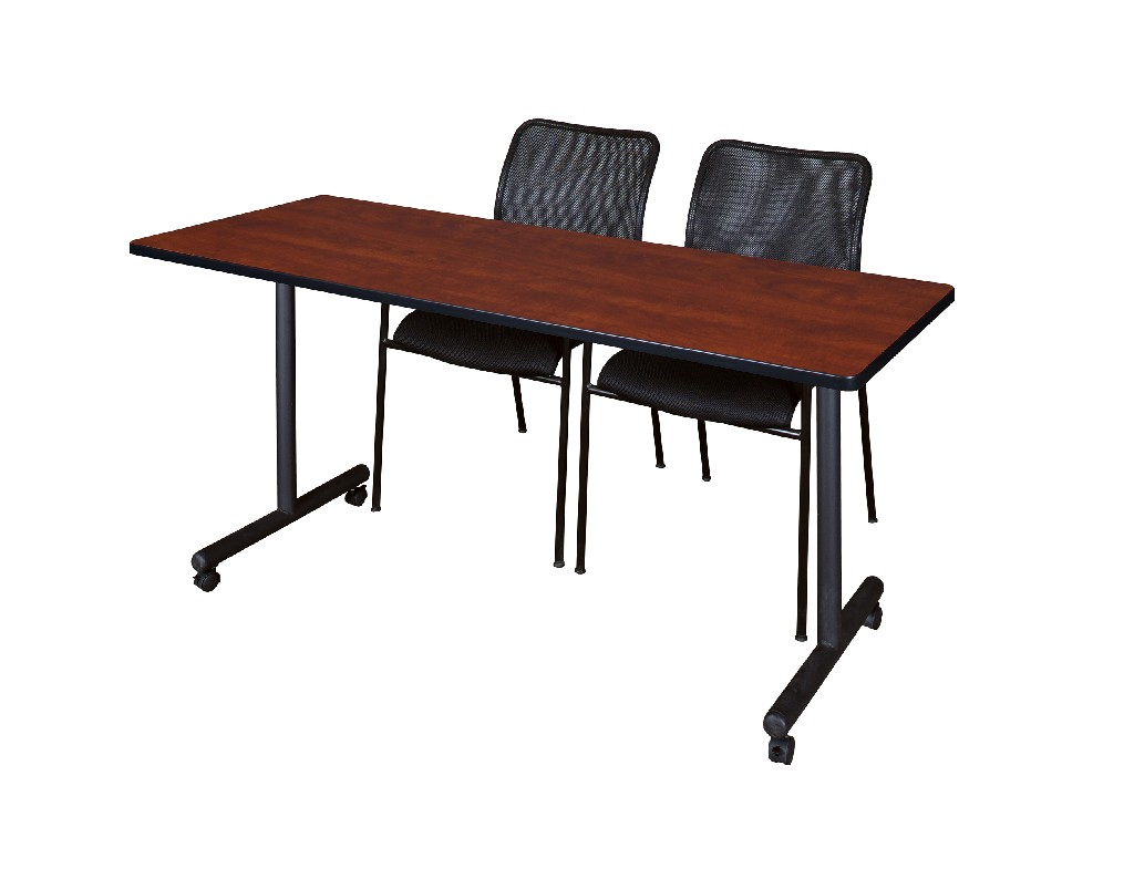 Regency Training Table Cherry Mario Stack Chairs Black