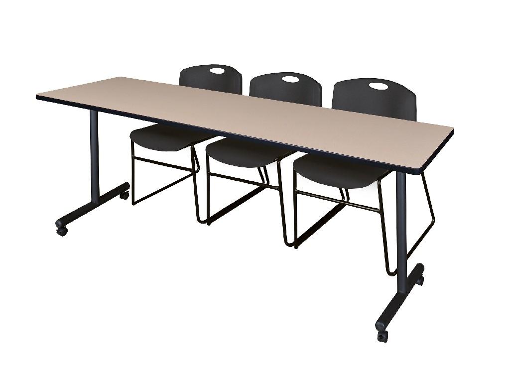 Regency Training Table Beige Zeng Stack Chairs Black