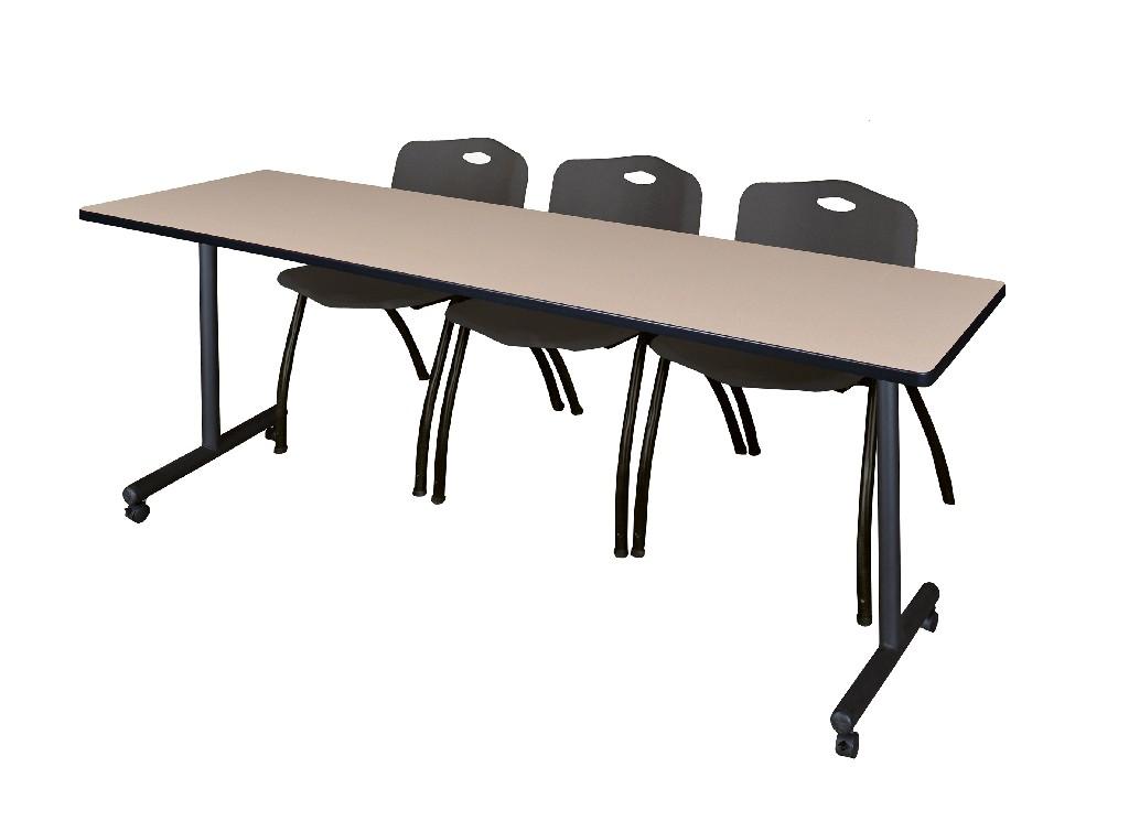 Regency Training Table Beige Stack Chairs Black