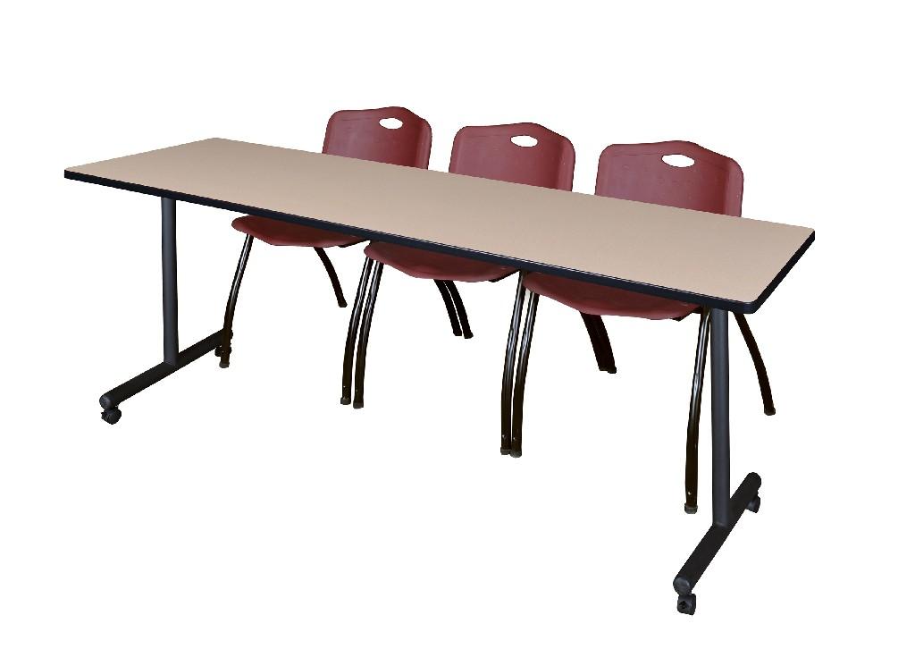 Regency Training Table Beige Stack Chairs Burgundy